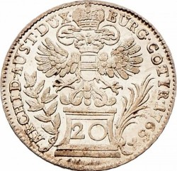 Coin > 20kreuzer, 1754-1766 - Austria  (Eagle with Austria Arms on Breast) - reverse