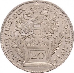 Coin > 20 kreuzer, 1754-1766 - Austria  (Eagle with Austria Arms on Breast) - reverse