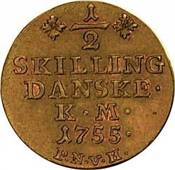 錢幣 > ½斯基林, 1751-1762 - 丹麥王國  - reverse