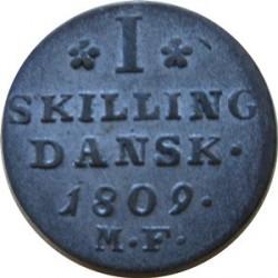 錢幣 > 1斯基林, 1808-1809 - 丹麥王國  - reverse