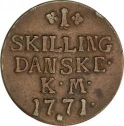 Münze > 1Skilling, 1771 - Dänemark   - reverse