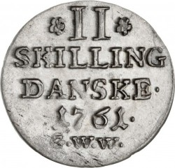 Münze > 2Schilling, 1750-1761 - Dänemark   - reverse