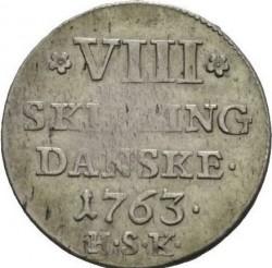 """錢幣 > 8斯基林, 1763 - 丹麥王國  (Monogramm """"F5"""") - reverse"""