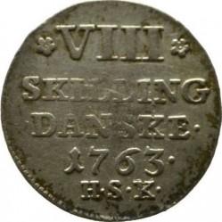 """錢幣 > 8斯基林, 1763 - 丹麥王國  (Monogramm """"FV"""") - reverse"""