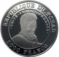 Moneta > 1000franchi, 2002 - Chad  (Coppa del Mondo FIFA, Francia 1998) - reverse