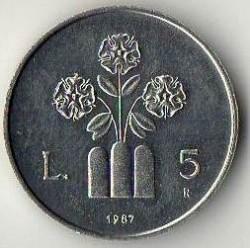 Moneda > 5lire, 1987 - San Marino  (15è aniversari - Represa de la Moneda) - reverse