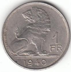 """Minca > 1franc, 1939-1940 - Belgicko  (Nadpis - """"BELGIE-BELGIQUE"""") - reverse"""