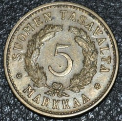 Münze > 5Mark, 1952 - Finnland  (Brass /yellow color/) - obverse