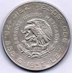 מטבע > 10פסו, 1955-1956 - מקסיקו  - obverse