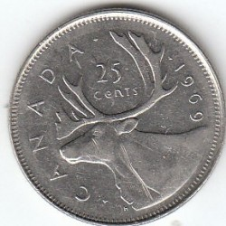 Coin > 25 cents (quarter), 1969 - Canada  - obverse