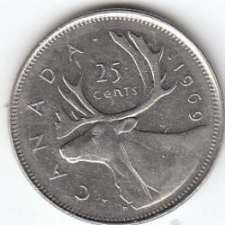 Coin > 25cents(quarter), 1969 - Canada  - reverse