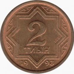 Moneda > 2tiyn, 1993 - Kazajistán  (Color amarillo) - reverse