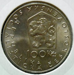 Moneta > 100corone, 1984 - Cecoslovacchia  (150° anniversario - Nascita di Jan Neruda) - obverse