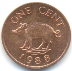 Mynt > 1cent, 1988 - Bermuda  (Kopparpläterat stål /magnetisk/) - reverse