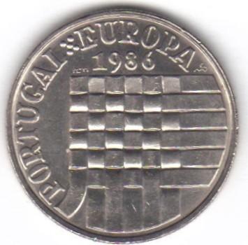 PORTUGAL 25 ESCUDOS PORTUGAL EUROPA 1986 UNC
