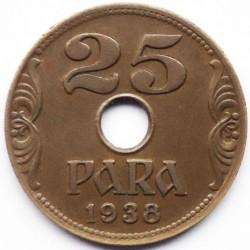 Кованица > 25пара, 1938 - Југославија  - reverse