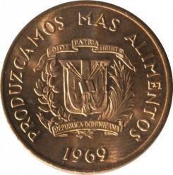 Mynt > 1centavo, 1969 - Dominikansk republikk  (FAO - Let's produce more food) - obverse