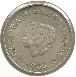 Moneda > 10francos, 1966 - Mónaco  (10 aniversario - Casamiento del Príncipe Rainiero III) - obverse