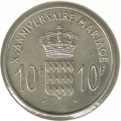 Moneda > 10francos, 1966 - Mónaco  (10 aniversario - Casamiento del Príncipe Rainiero III) - reverse
