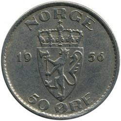 Moneda > 50öre, 1953-1957 - Noruega  - reverse