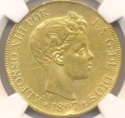 Moeda > 100pesetas, 1897 - Espanha  - obverse
