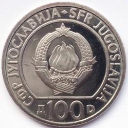 Moneda > 100dinares, 1985 - Yugoslavia  (40º Aniversario - Liberación del Fascismo) - obverse