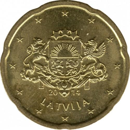 20 Eurocent 2014 2018 Lettland Münzen Wert Ucoinnet
