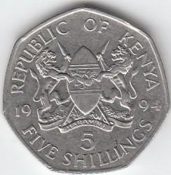 Монета > 5шиллингов, 1994 - Кения  - obverse