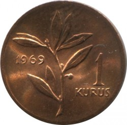 Coin > 1 kurus, 1969 - Turkey  - obverse