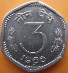 Монета > 3пайса, 1964-1967 - Індія  - reverse