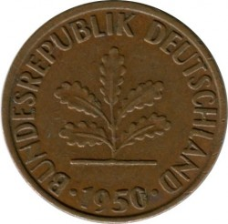 Coin > 1 pfennig, 1950 - Germany  - reverse