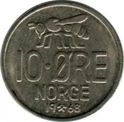 Moneda > 10öre, 1959-1973 - Noruega  - reverse