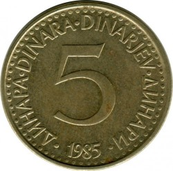 Münze > 5Dinar, 1982-1986 - Jugoslawien  - obverse