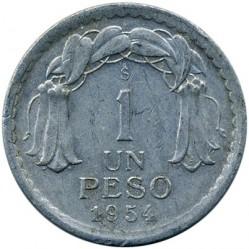 Moeda > 1peso, 1954-1958 - Chile  - reverse