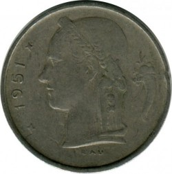 "Minca > 1frank, 1951 - Belgicko  (Nadpis v holandčine - ""BELGIE"") - reverse"