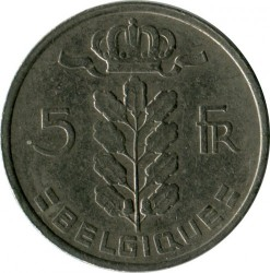 Монета > 5 франка, 1948-1981 - Белгия  (Legend in French - 'BELGIQUE') - obverse