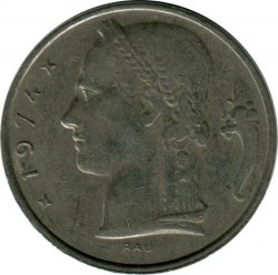 Coin > 5 francs, 1948-1981 - Belgium  (Legend in French - 'BELGIQUE') - reverse