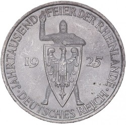 Moneda > 5reichsmark, 1925 - Alemania  (1000 años de Renania) - obverse