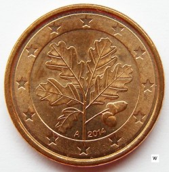Монета > 1евроцент, 2014 - Германия  - reverse