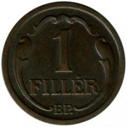 Munt > 1filler, 1926-1939 - Hongarije  - reverse