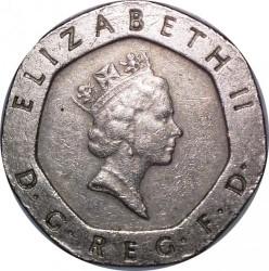 מטבע > 20פנס, 1985-1997 - בריטניה  - obverse