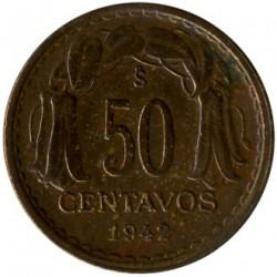 Moneda > 50centavos, 1942 - Chile  - reverse