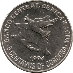 Монета > 5сентаво, 1994 - Нікарагуа  - reverse