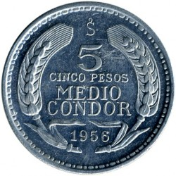 Coin > 5pesos, 1956 - Chile  - obverse
