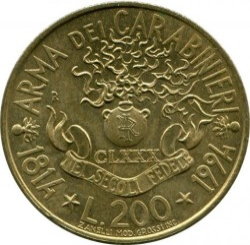 Moneta > 200lire, 1994 - Italia  (180° Anniversario - Carabinieri) - obverse