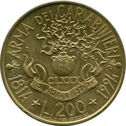 Moneta > 200lire, 1994 - Italia  (180° Anniversario - Carabinieri) - reverse