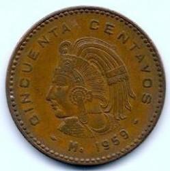 Moneda > 50centavos, 1955-1959 - México  - reverse