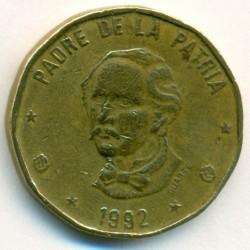 Coin > 1peso, 1992-2008 - Dominican Republic  - obverse