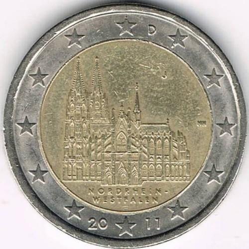 D 2011 Germany 2 Euro UNC Coin North Rhine Westphalia Cologne Munich