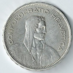Coin > 5 francs, 1933 - Switzerland  - reverse